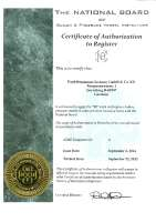 National Board Certification of Register for ASME Designator U